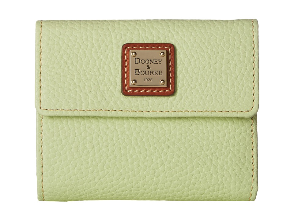Dooney & Bourke - Pebble Leather New SLGS Small Flap Credit Card Wallet (Key Lime w/ Tan Trim) Wallet Handbags