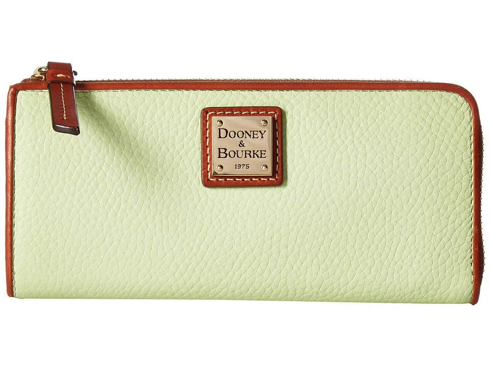 Dooney & Bourke - Pebble Zip Clutch (Key Lime w/ Tan Trim) Clutch Handbags