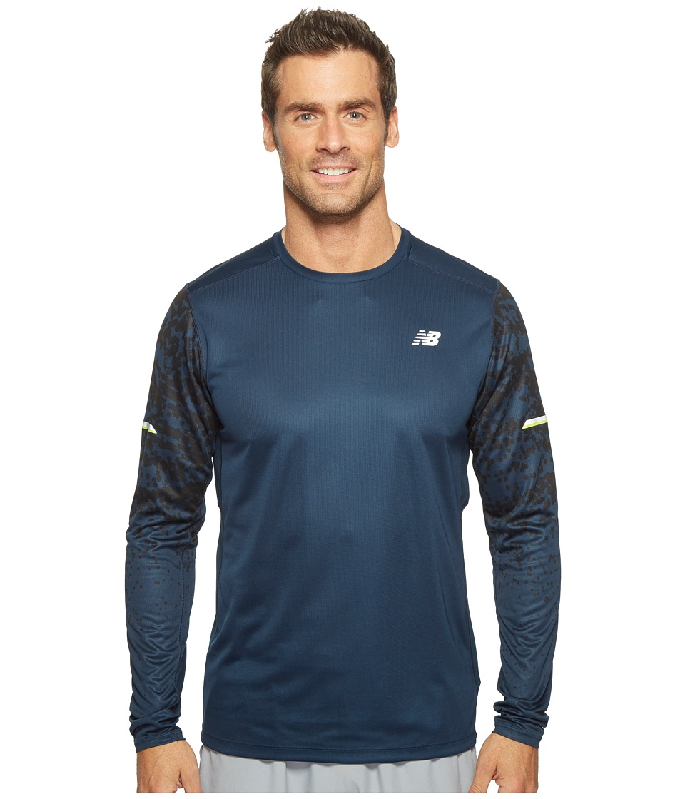 New Balance - NB Ice Long Sleeve Top (Galaxy Tech Print) Men's Long Sleeve Pullover