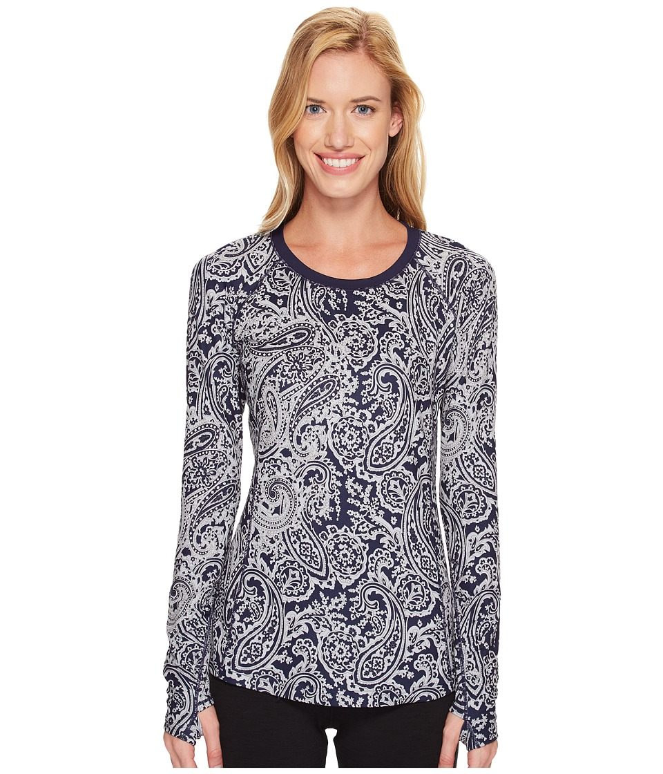 New Balance - In Transit Long Sleeve (Navy/Silver Paisley) Women's Long Sleeve Pullover