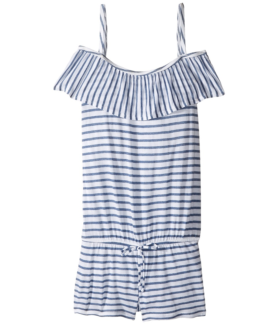 Splendid Littles - Chambray All Day Off the Shoulder Romper Cover-Up (Big Kids) (Blue) Girl's Swimsuits One Piece
