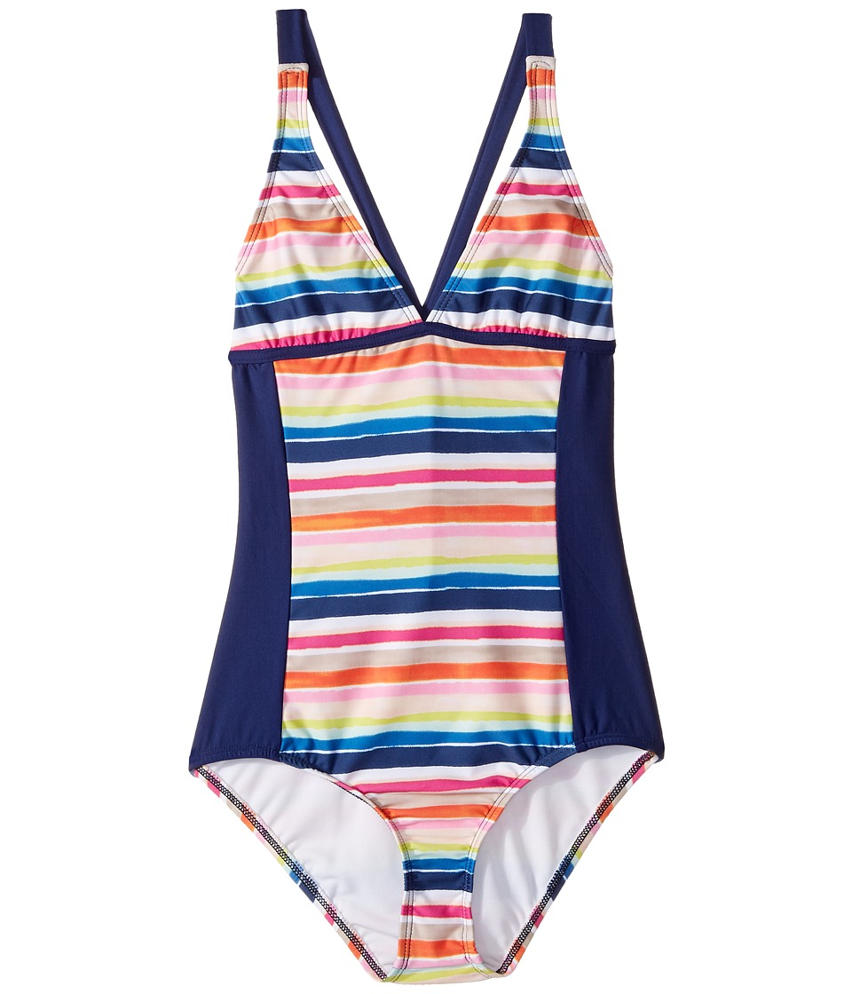 Splendid Littles - Watercolor Horizon One-Piece (Big Kids) (Multi) Girl's Swimsuits One Piece