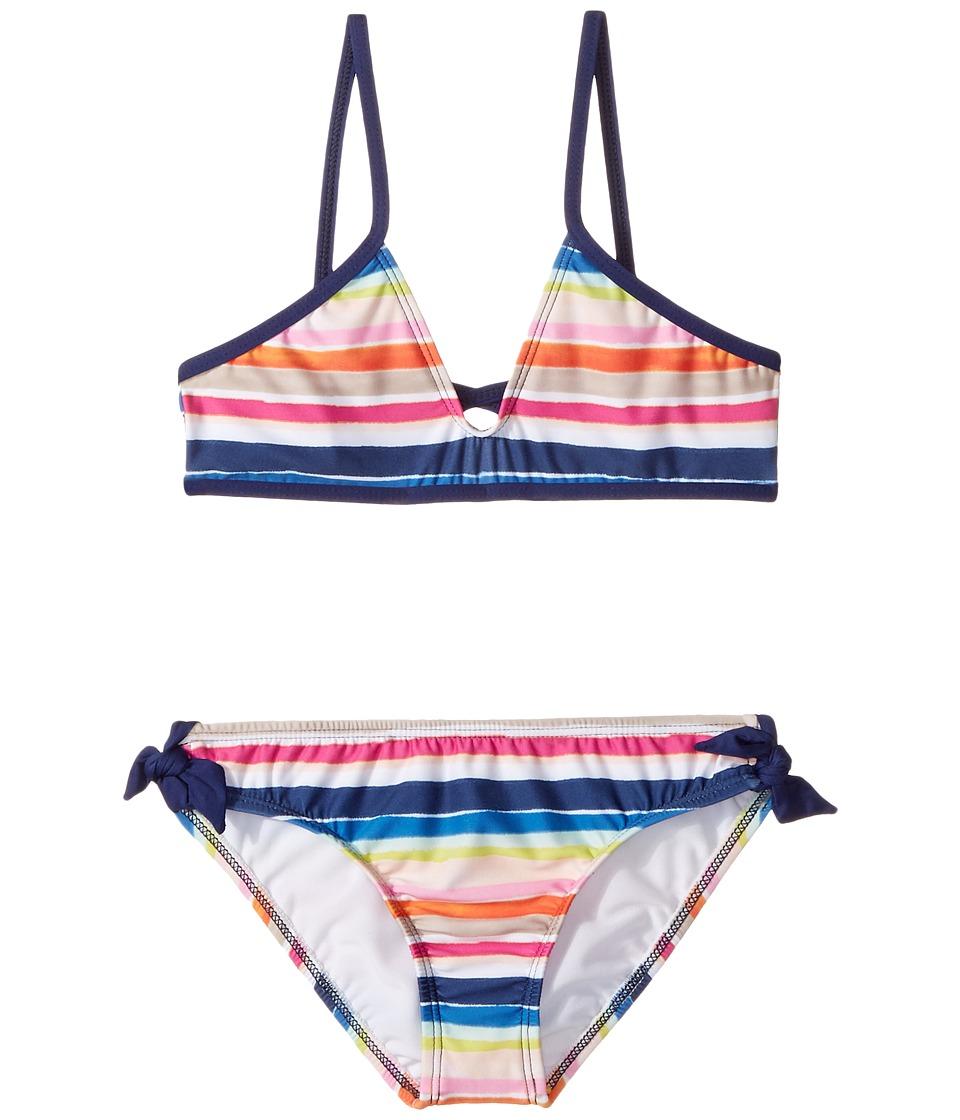 Splendid Littles - Watercolor Horizon Bralette Hipster w/ Ties (Big Kids) (Multi) Girl's Swimwear Sets