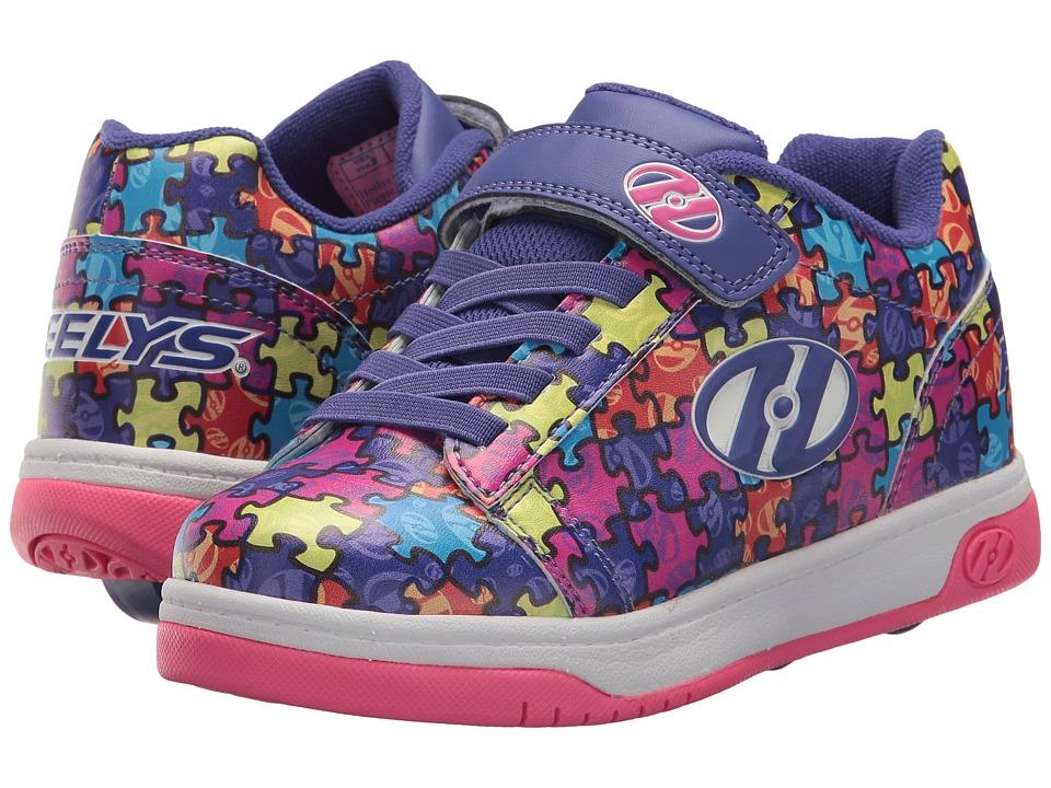 Heelys Dual Up x2 (Little Kid/Big Kid) (Purple/Neon Multi/Puzzle) Girls Shoes