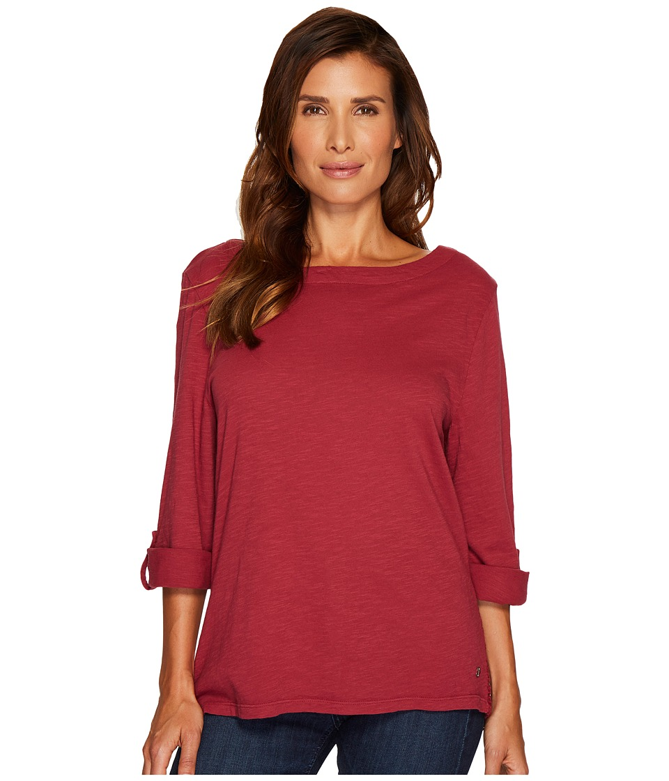 Jag Jeans - Wren Tee with Crochet Lace Back in Slub Jersey (Sangria) Women's T Shirt