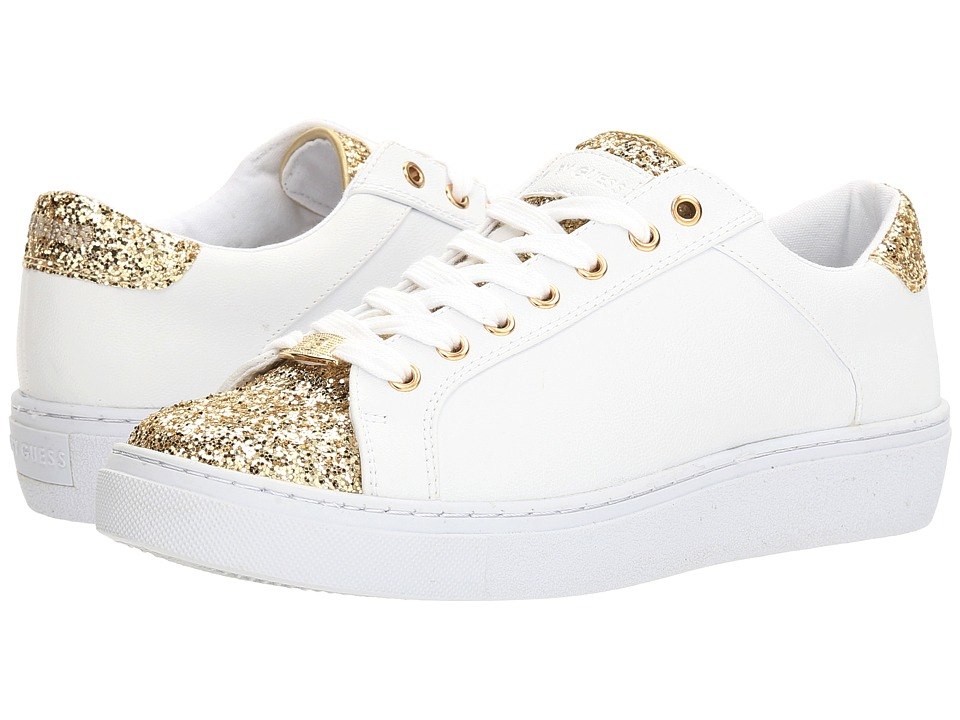 G by GUESS - Rambo (White/Light Gold Cherrie) Women's Lace up casual Shoes