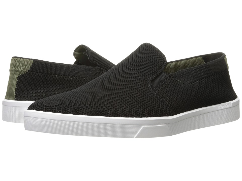 Calvin Klein - Ives (Black/Armour Green) Men's Slip on Shoes