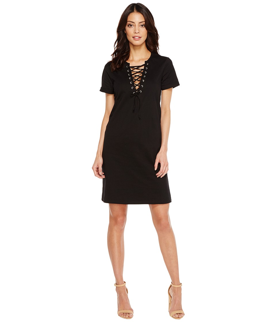 Culture Phit - Cameo Short Sleeve Lace-Up Dress (Black) Women's Dress