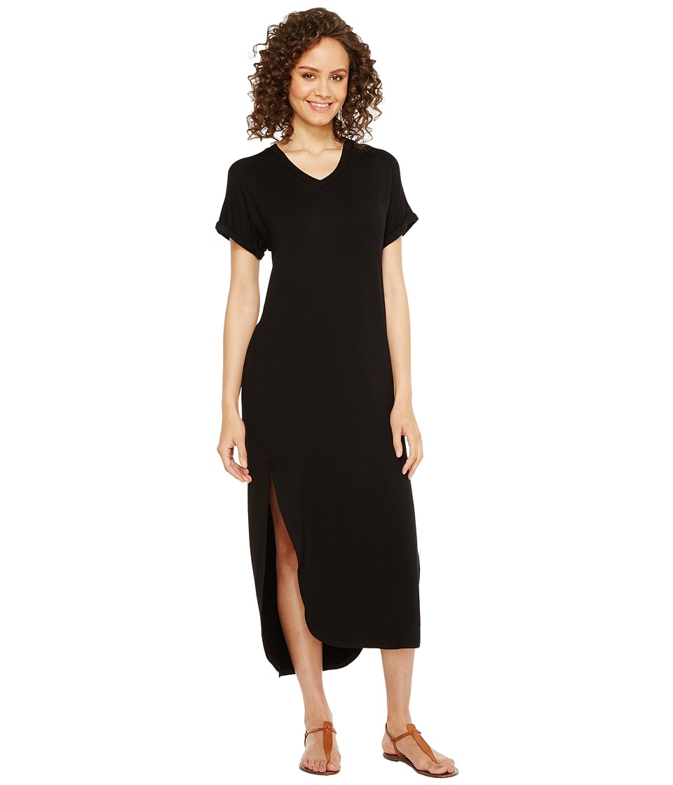 Culture Phit - Martine Luxe French Terry Short Sleeve Midi Dress (Black) Women's Dress