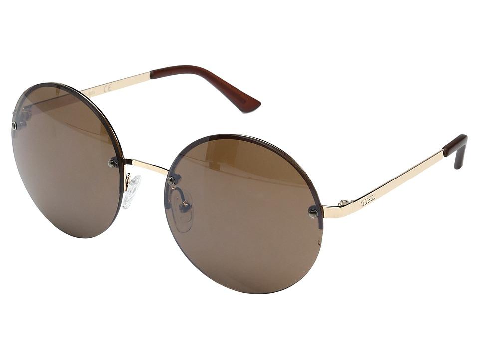 GUESS - GF0308 (Gold/Brown Mirror Lens) Fashion Sunglasses