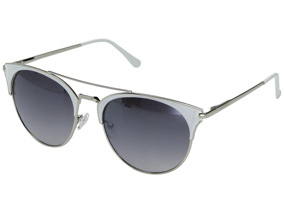GUESS - GF0312 (Silver/White Epoxy/Smoke Mirror Lens) Fashion Sunglasses