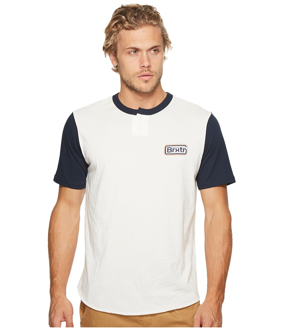 Brixton - Springfield Short Sleeve Henley (Off-White/Navy) Men's Clothing