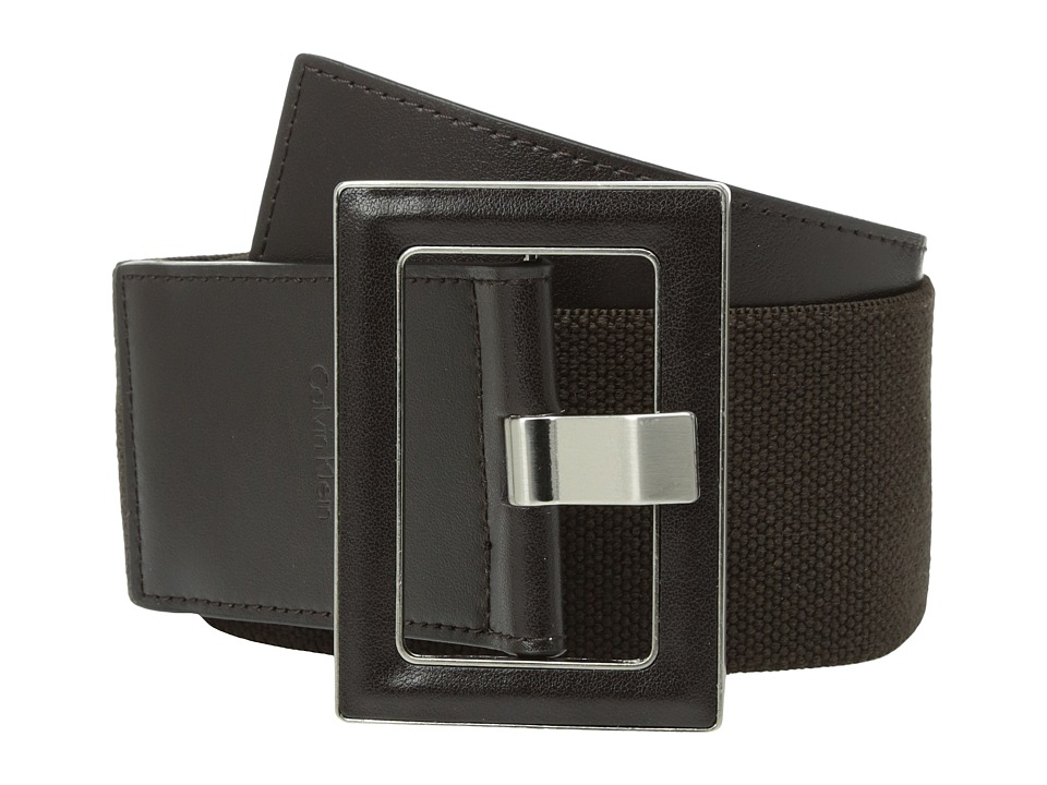 Calvin Klein - 60mm Stretch Belt w/ Smooth Leather (Brown) Women's Belts