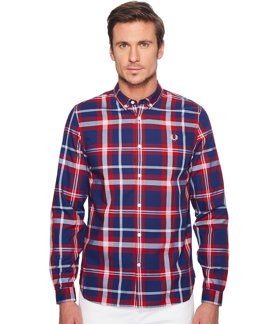 Fred Perry - Bold Check Shirt (England Red) Men's Short Sleeve Button Up