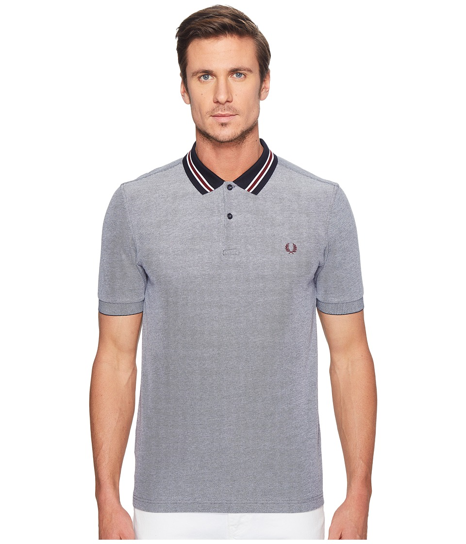 Fred Perry - Oxford Bomber Collar Pique Shirt (Dark Carbon Oxford) Men's Clothing