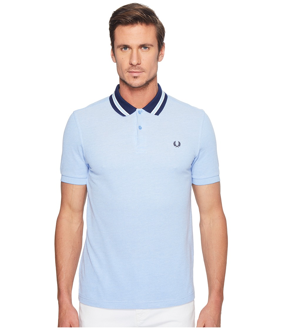 Fred Perry - Oxford Bomber Collar Pique Shirt (Light Smoke Oxford) Men's Clothing
