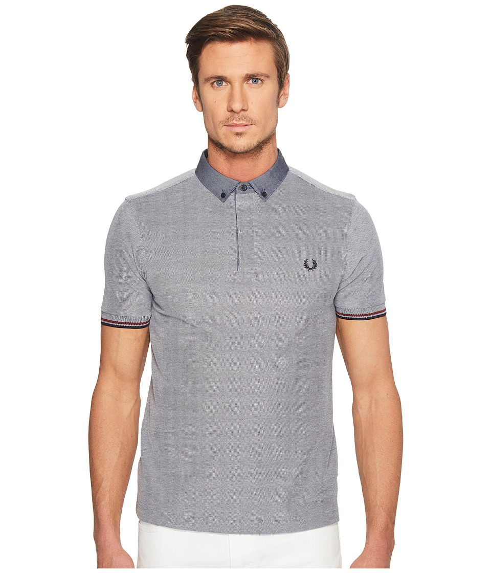 Fred Perry - Woven Collar Pique Shirt (Dark Carbon Oxford) Men's Clothing