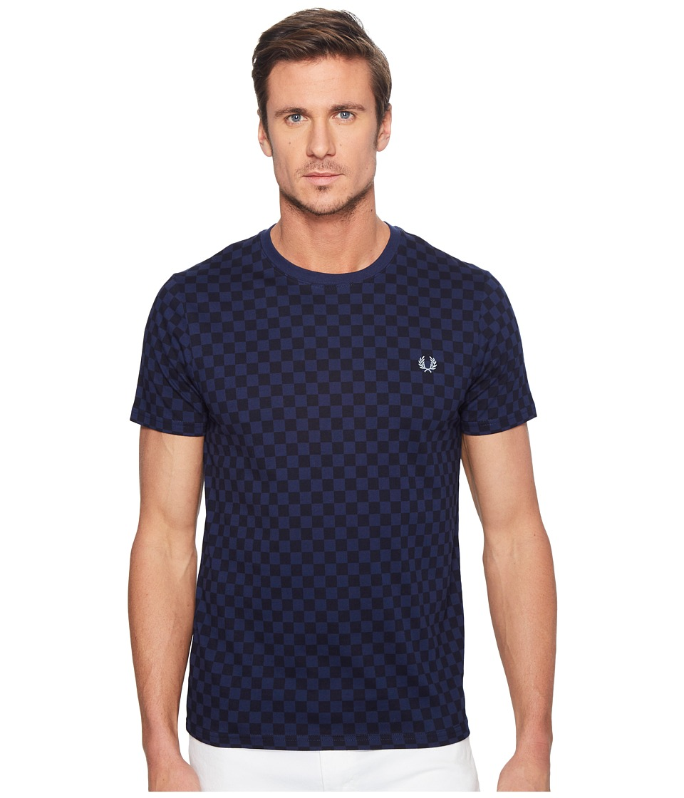 Fred Perry - Checkerboard Print T-Shirt (French Navy) Men's T Shirt