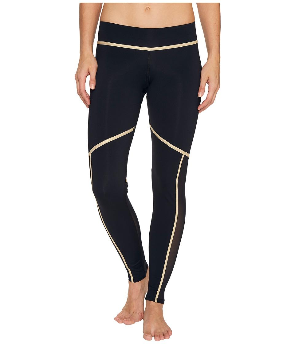 Luli Fama Warrior Spirit Gold Trimmed Leggings Long (Black/Gold) Women