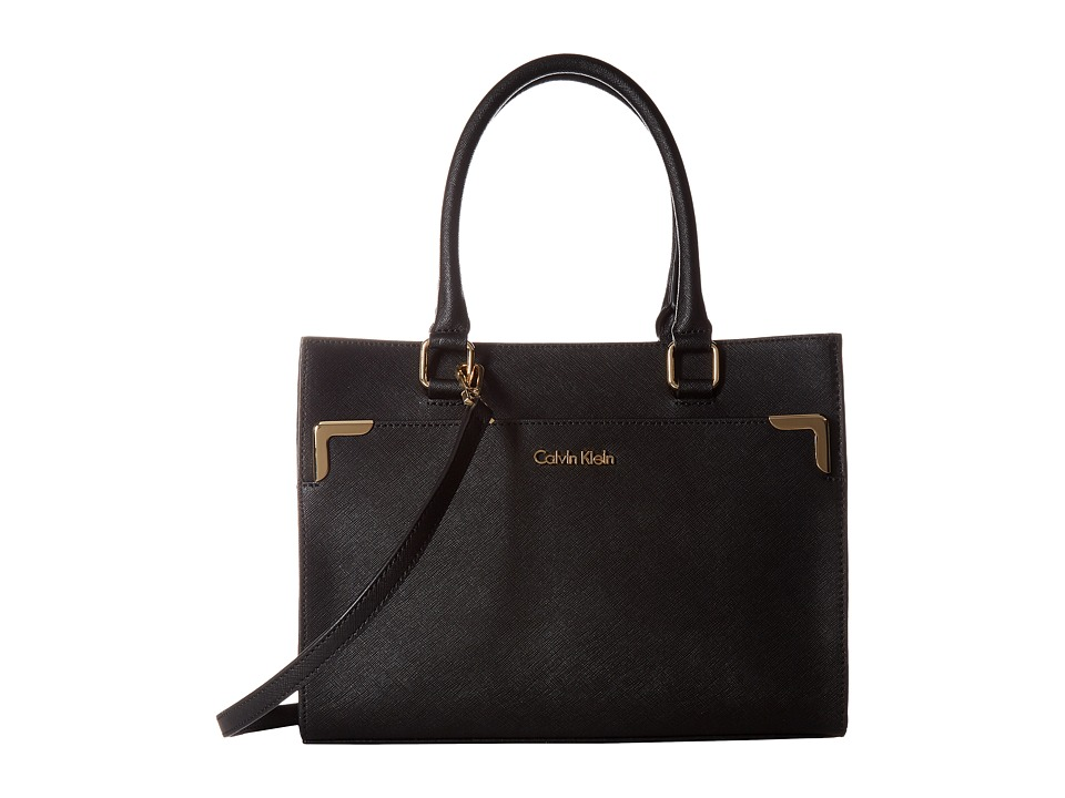 Calvin Klein - On My Corner Saffiano Mini Tote (Black/Gold) Tote Handbags