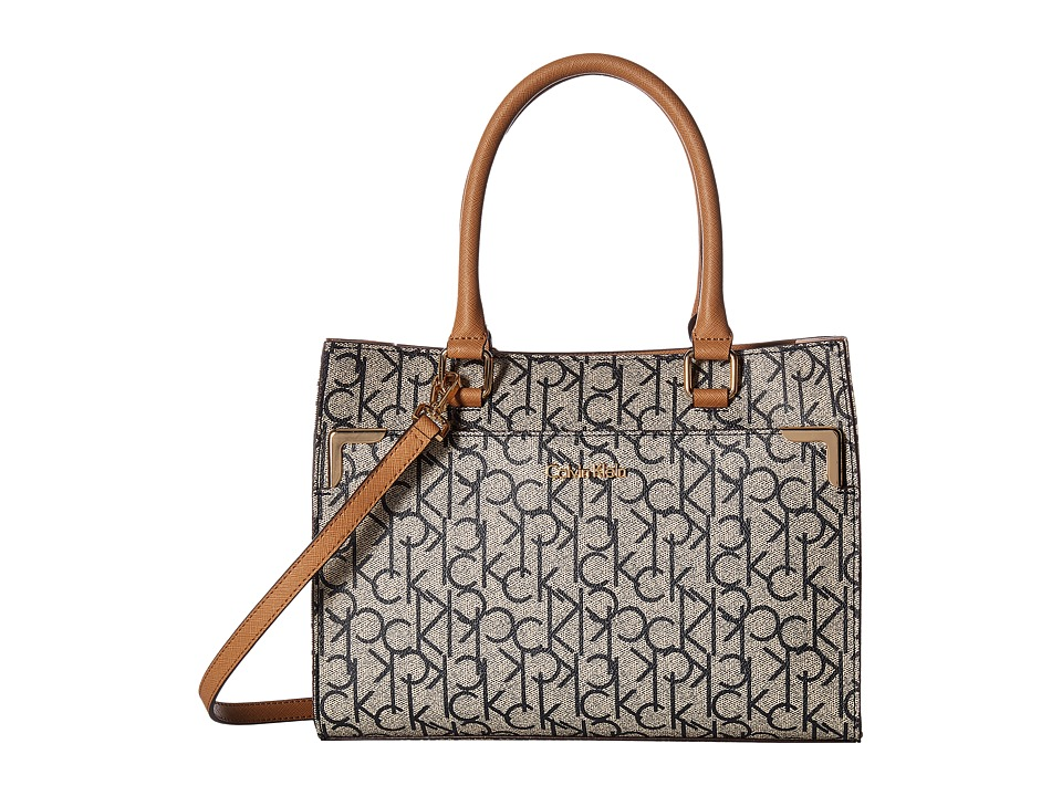 Calvin Klein - On My Corner Monogram Mini Tote (Almond/Navy/Cashew) Tote Handbags
