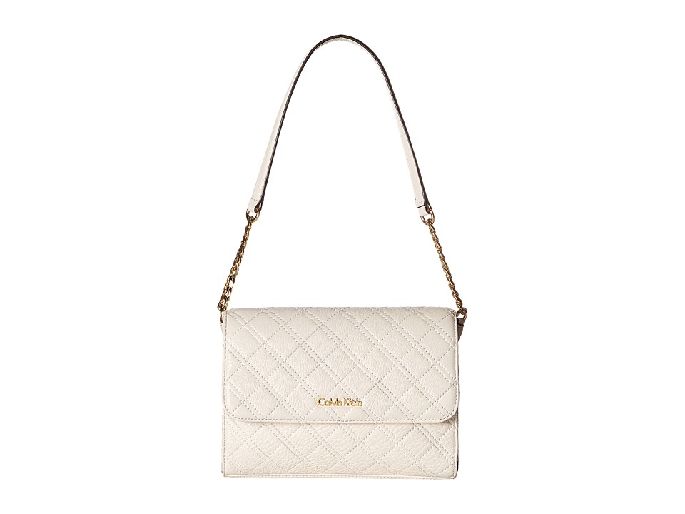 Calvin Klein - Skylark Quilted Leather Demi (White) Cross Body Handbags