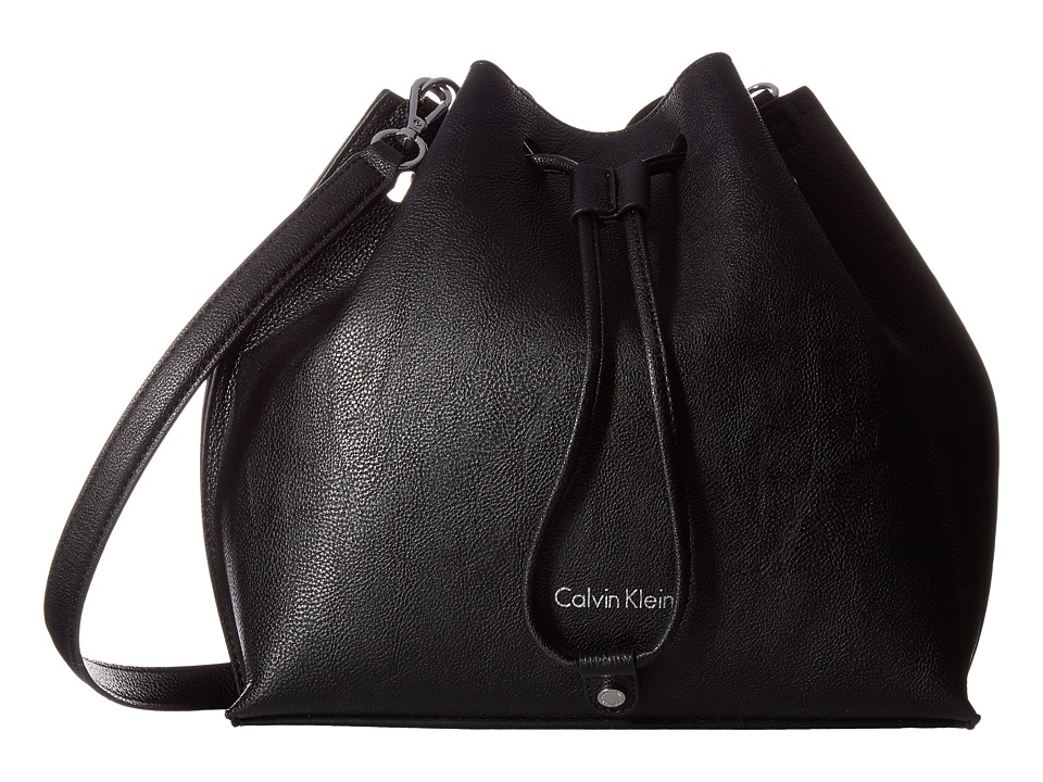 Calvin Klein - Freestyle Pebble PVC Drawstring (Black/Grey) Drawstring Handbags