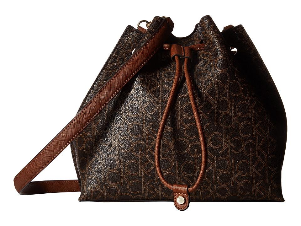 Calvin Klein - Freestyle Monogram Drawstring (Brown/Khaki/Luggage Saffiano) Drawstring Handbags