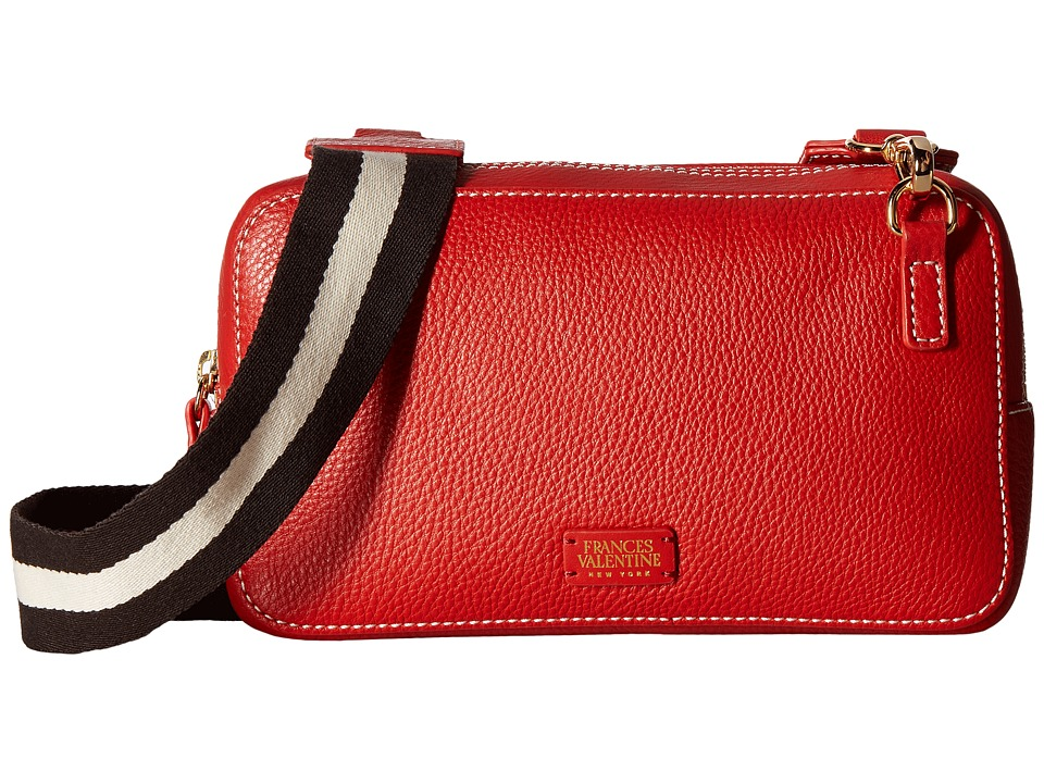 Frances Valentine - Lucy Crossbody with Webbing (Coral) Cross Body Handbags