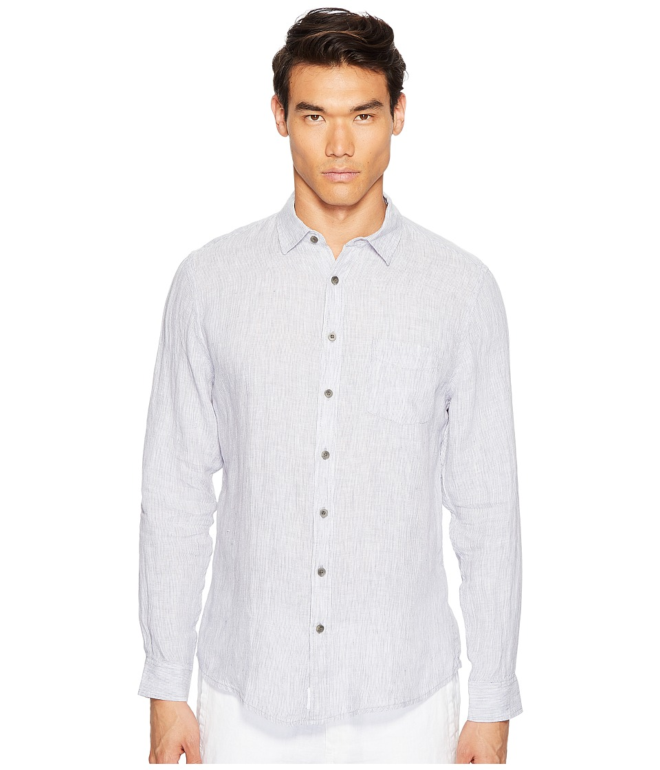onia - Abe Shirt (Storm/White) Men's Long Sleeve Button Up