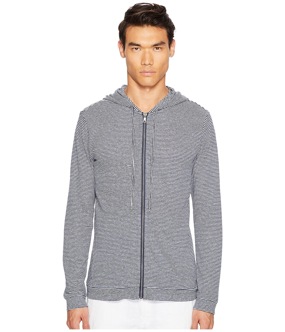 onia - James Zip-Up Hoodie (Deep Navy/White) Men's Sweatshirt