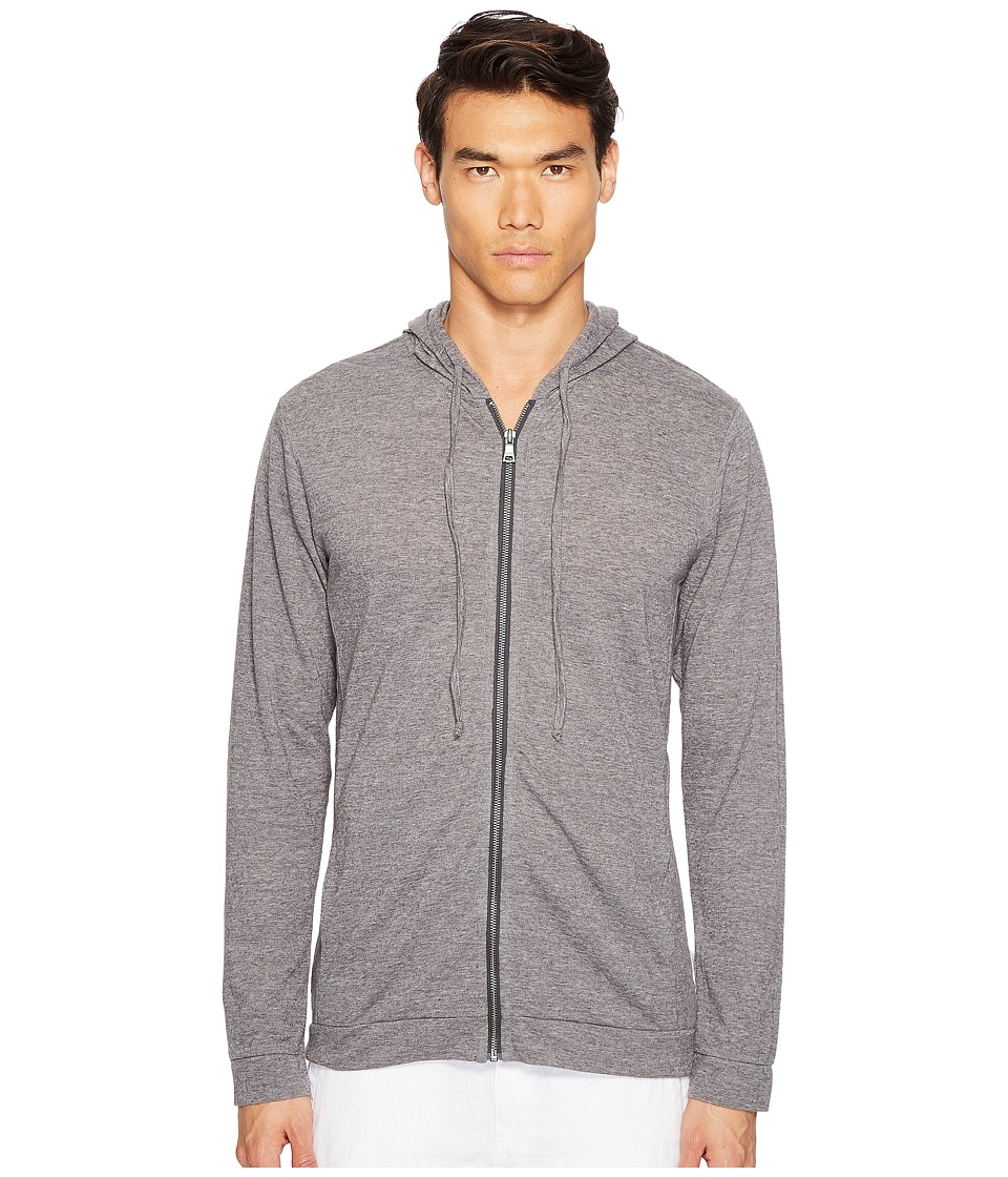 onia - James Zip-Up Hoodie (Dark Heather Grey) Men's Sweatshirt