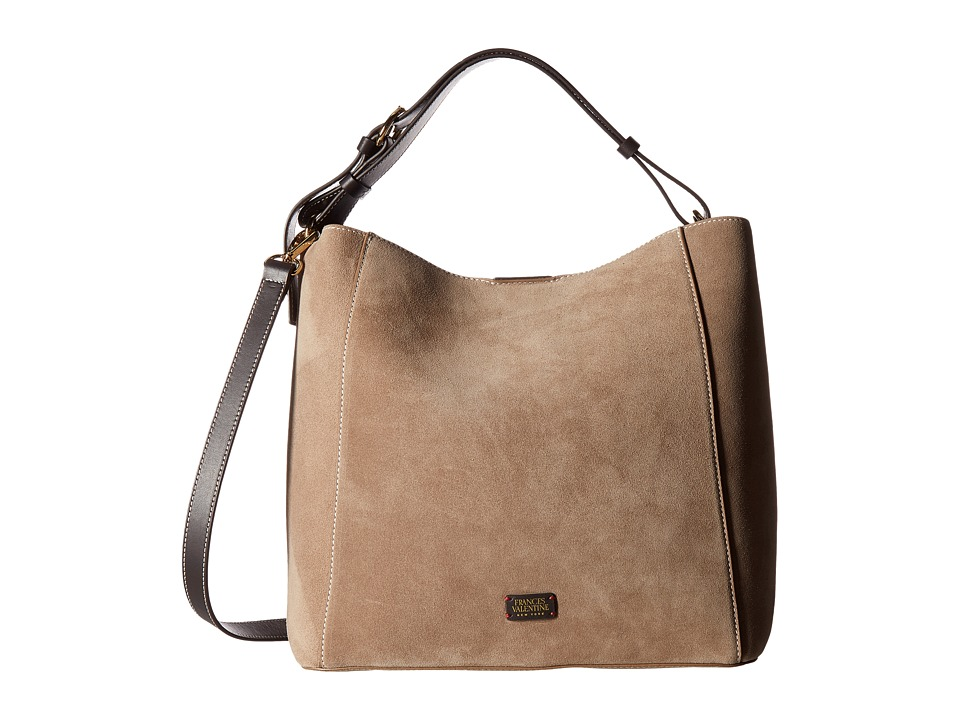 Frances Valentine - New Medium June Suede Hobo (Stone) Hobo Handbags