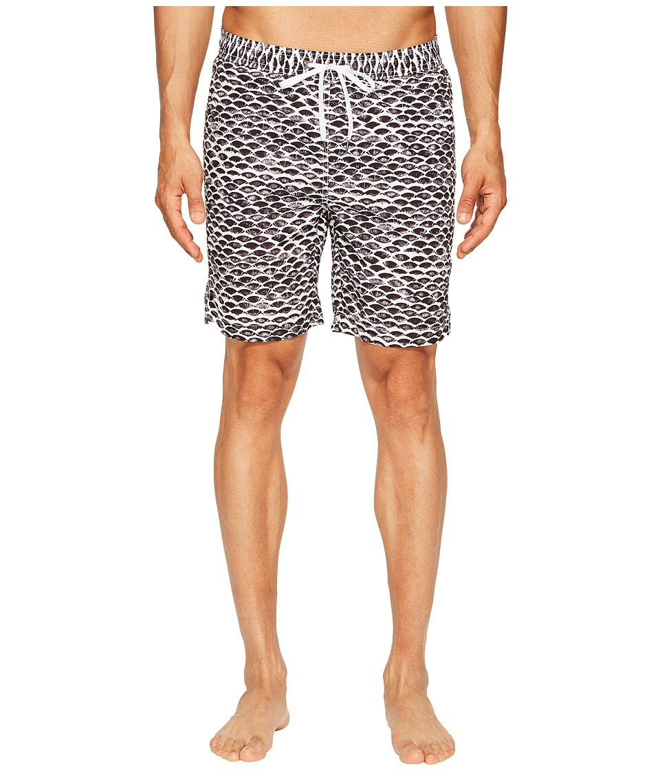 onia - Charles 7 (Scale Stamp White/Black) Men's Swimwear