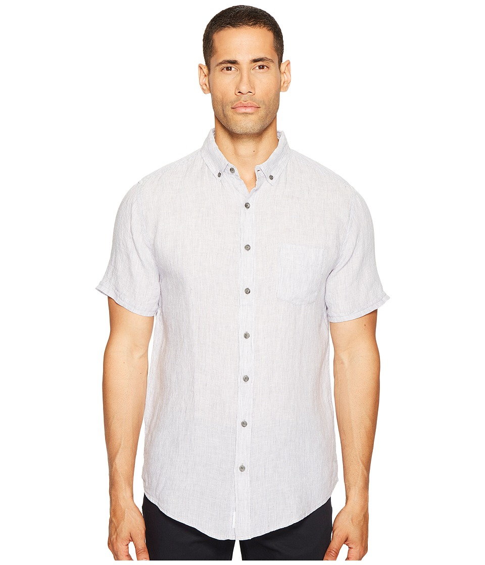 onia - Jack Short Sleeve Shirt (Storm/White) Men's Short Sleeve Button Up