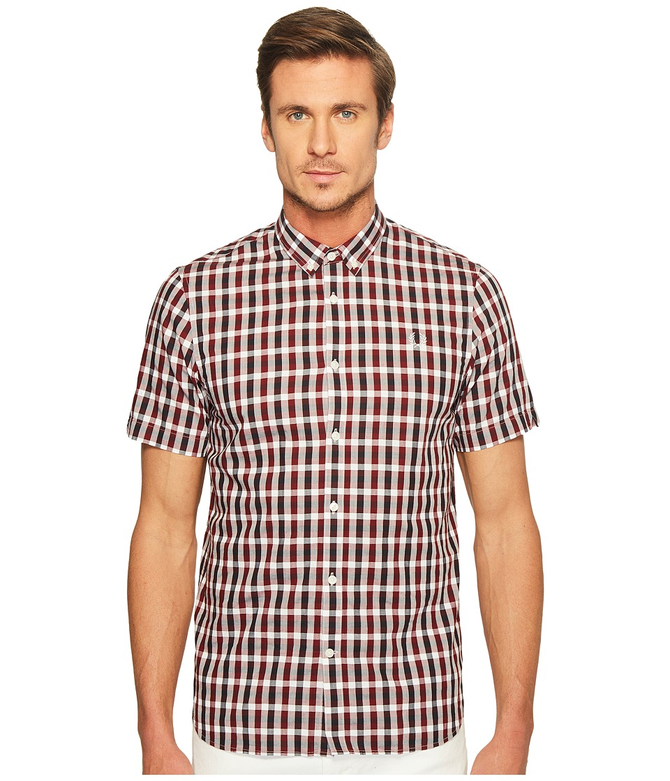Fred Perry - Three - Colour Gingham Shirt (Rosewood) Men's Clothing