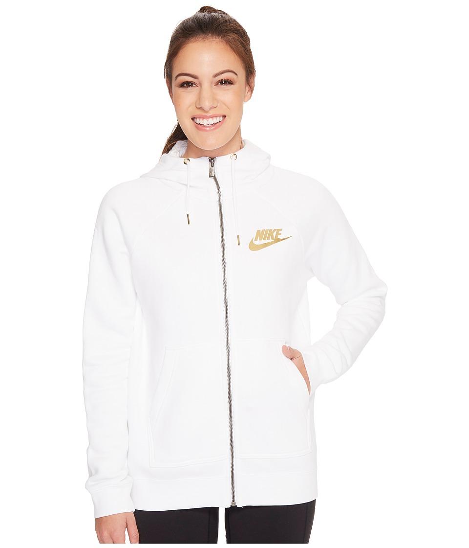 Nike Sportswear Rally Metallic Full-Zip Hoodie (White/White) Women