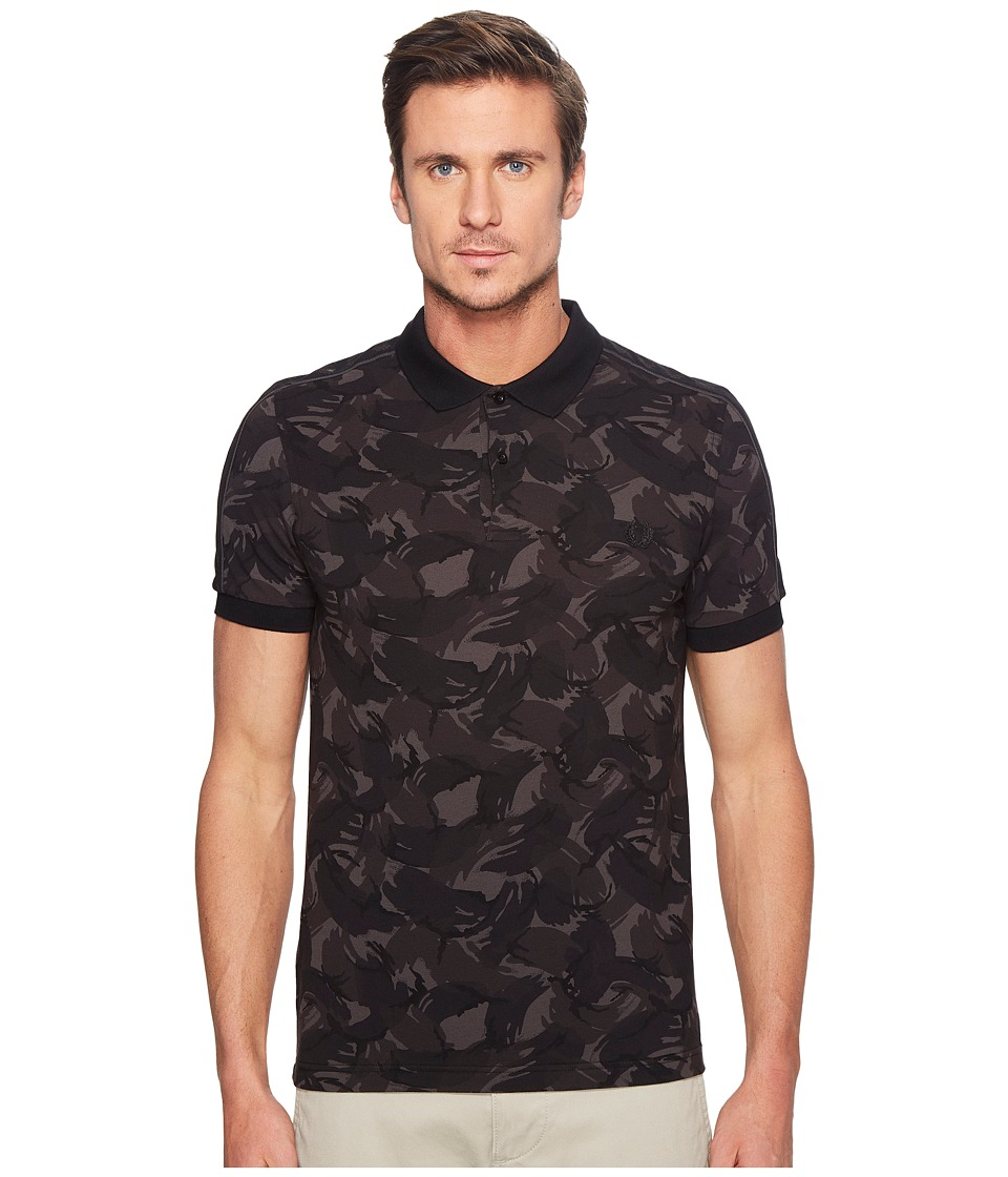 Fred Perry - Tonal Camo Print Pique (Black) Men's Clothing