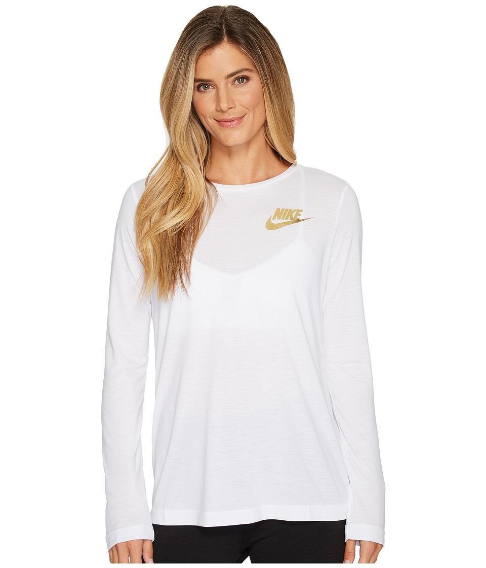 Nike Sportswear Essential Metallic Long Sleeve Top (White) Women