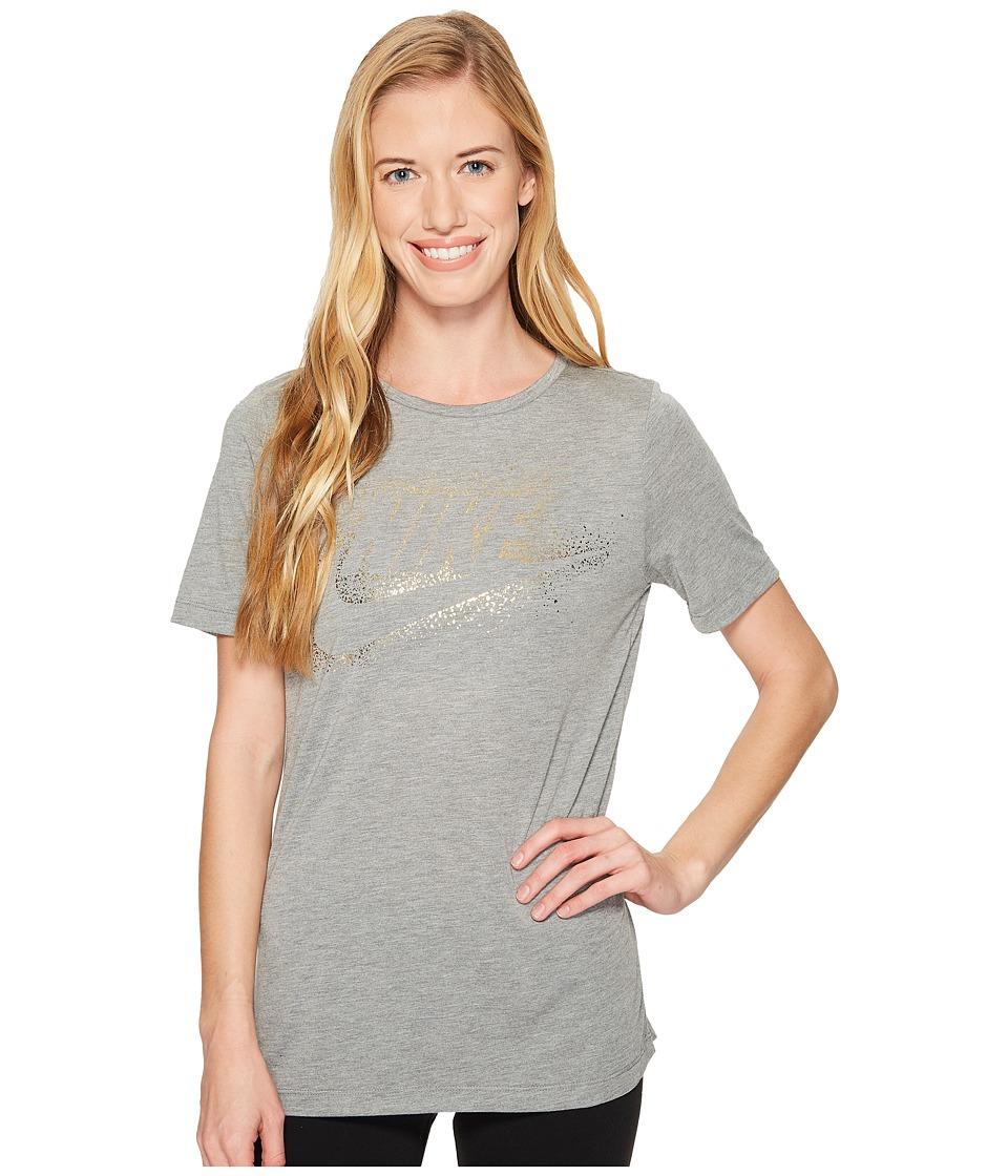 Nike Sportswear Essential Metallic Tee (Carbon Heather) Women