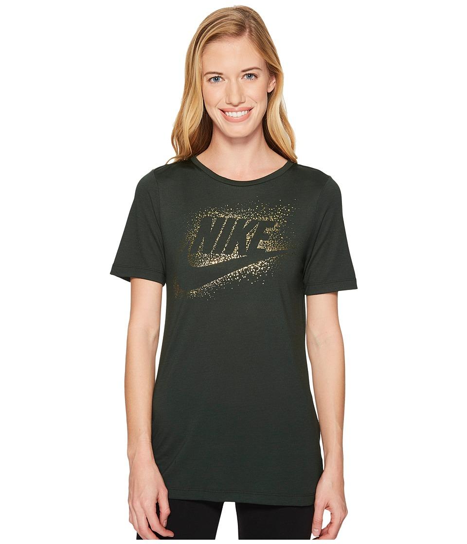 Nike Sportswear Essential Metallic Tee (Outdoor Green) Women