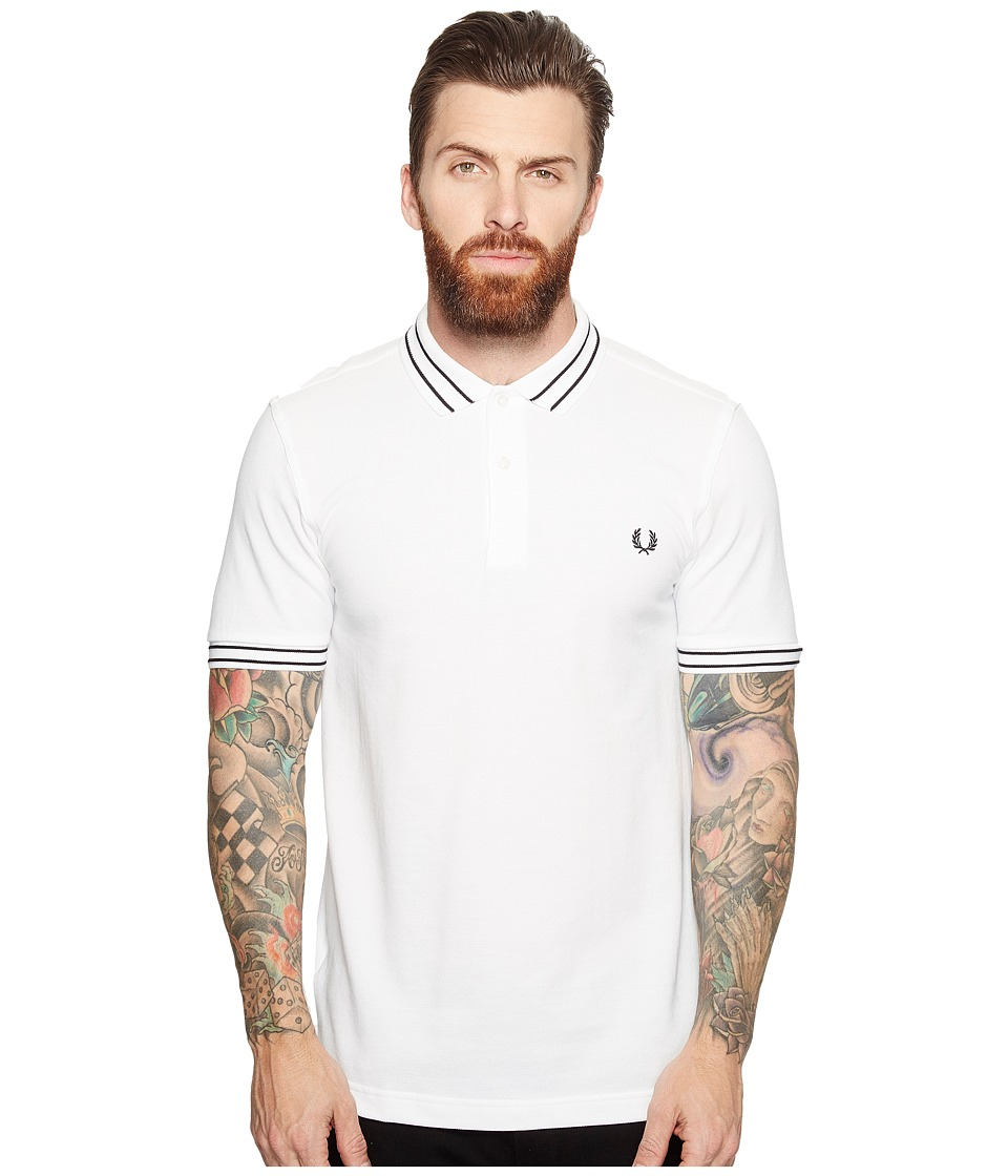 Fred Perry - Tramline Tipped Pique Shirt (White) Men's Clothing