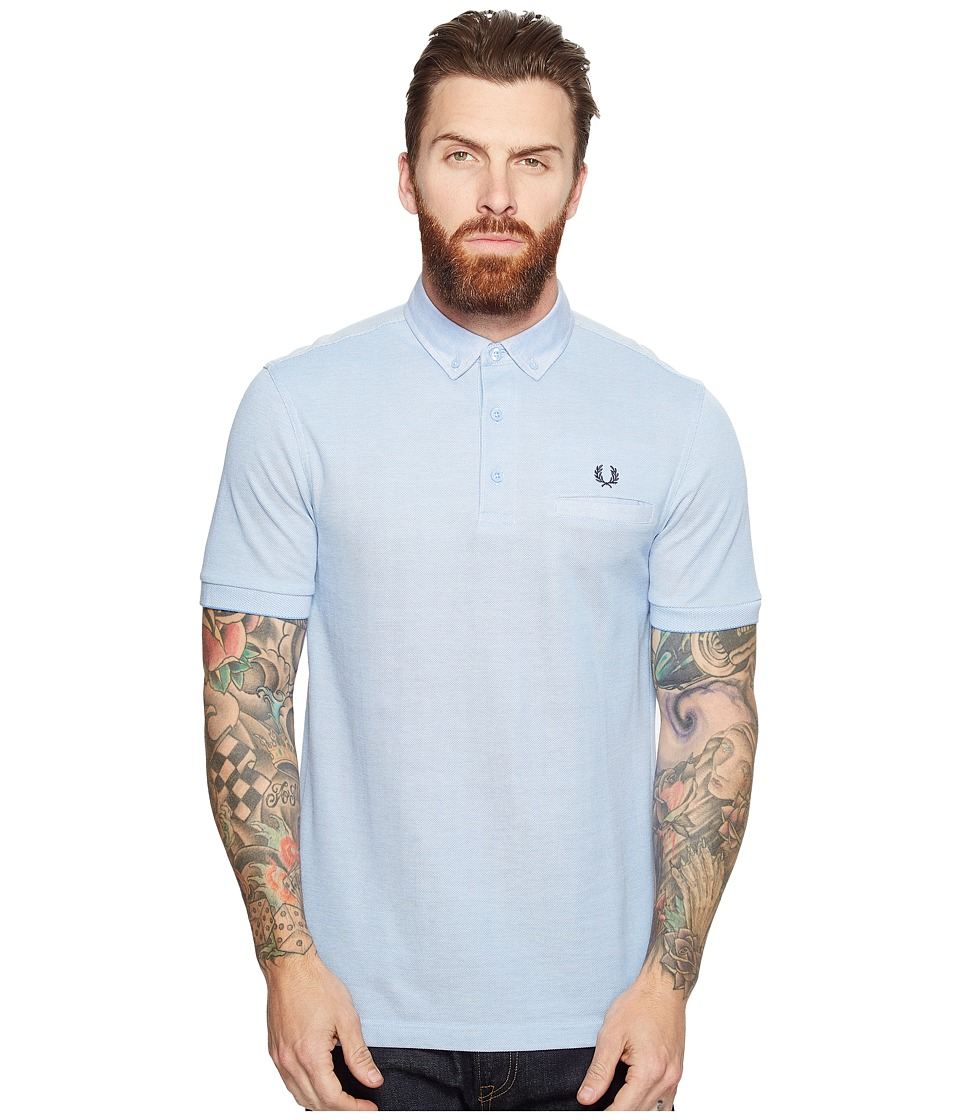 Fred Perry - Woven Trim Pique Shirt (Light Smoke Oxford 1) Men's Short Sleeve Knit
