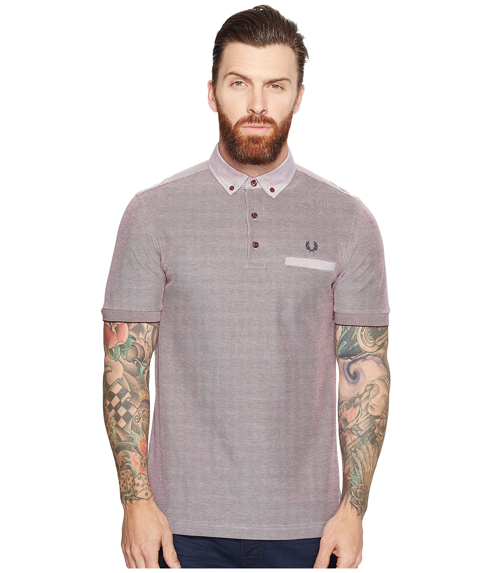 Fred Perry - Woven Trim Pique Shirt (Rosewood) Men's Short Sleeve Knit