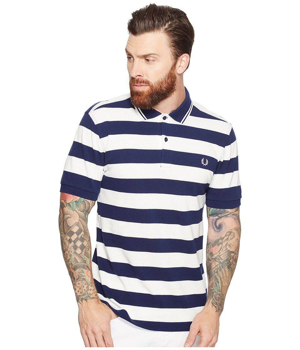 Fred Perry - Striped Pique Shirt (French Navy) Men's Clothing