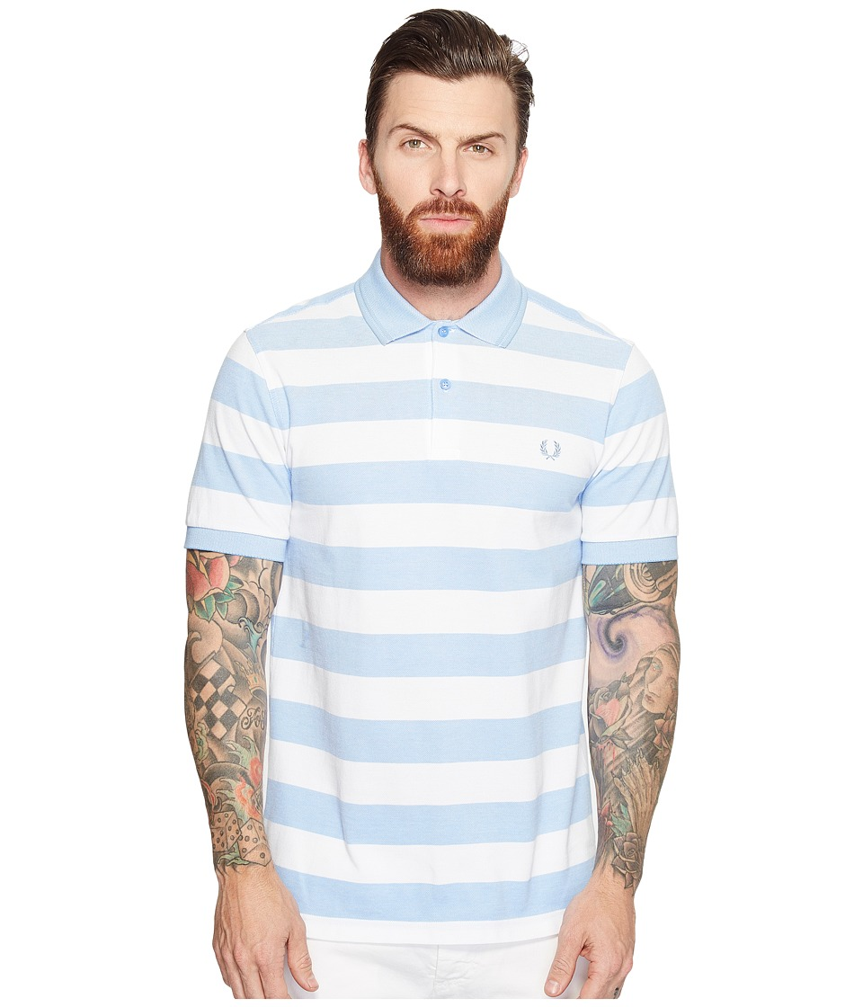 Fred Perry - Striped Pique Shirt (Light Smoke) Men's Clothing