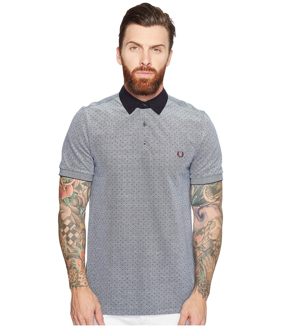 Fred Perry - Polka Dot Oxford Pique Shirt (Dark Carbon Oxford) Men's Clothing