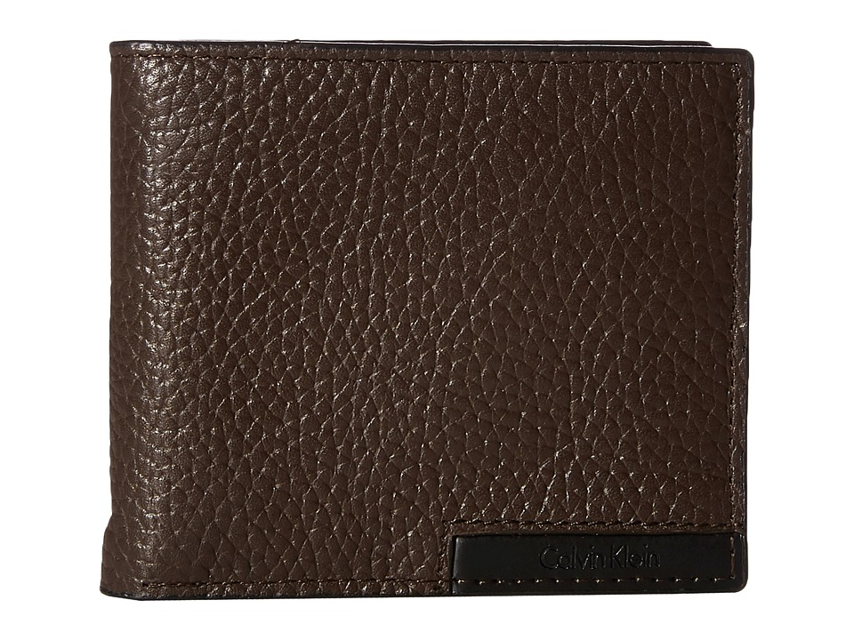 Calvin Klein - Pebble Billfold with Money Clip and Key Fob (Chocolate) Bill-fold Wallet