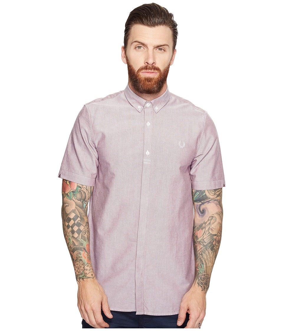Fred Perry - Short Sleeve Classic Oxford Shirt (Rosewood) Men's Clothing