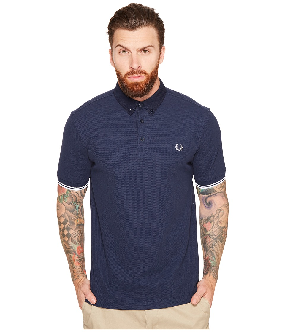 Fred Perry - Woven Collar Pique Shirt (Dark Carbon) Men's Clothing